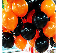 50Pieces Halloween Balloon Combo 10 Inches 2.2 Grams Of Inferior Smooth Thick Orange And Black Balloons
