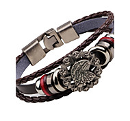 Men's Leather Bracelet Fashion Vintage Stainless Steel Alloy Anchor Eagle Jewelry For Club Street