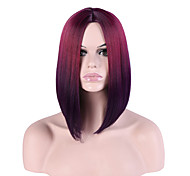 Women Synthetic Wigs Capless Short Straight Burgundy Ombre Hair Natural Hairline Middle Part Bob Haircut Party Wig Halloween Wig Natural