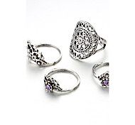 Women's Midi Rings Crystal Rhinestone Vintage Personalized Crystal Alloy Flower Crown Jewelry For Casual Formal