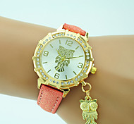 Women's Fashion Watch Wrist watch Quartz Rhinestone Leather Band Casual Owl Black White Blue Orange Green Gold Pink
