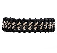 cheap -Men's Women's Leather Chain Bracelet Leather Bracelet - Fashion Simple Style Round Black Brown Bracelet For Daily Casual