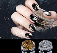 1 caixa de ouro / prata glitter flocos de alumínio espelho mágico efeito pós lantejoulas gel de unhas polonês cromo pigmento decorações