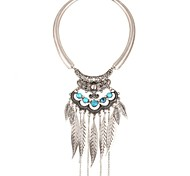 Women's Pendant Necklaces Synthetic Aquamarine Crystal Circle Leaf Crystal Silver Plated Gold Plated Metallic Fashion Bohemian