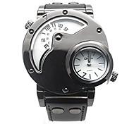 oulm zwei Stunden bewegliche Quarz Uhr Zifferblatt schwarz Herrenuhr-weiß