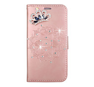 cheap -Case For iTouch 5/6 Wallet Card Holder Rhinestone with Stand Flip Embossed Pattern DIY Full Body Cases PU Leather Hard