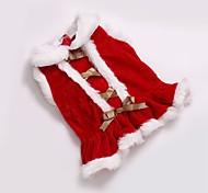 Katze Hund Mäntel Kleider Hundekleidung Party Cosplay Lässig/Alltäglich warm halten Hochzeit Sport Weihnachten Neujahr Massiv Rot