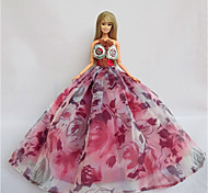 Party/Evening Dresses For Barbie Doll Violet Pink Dresses For Girl's Doll Toy