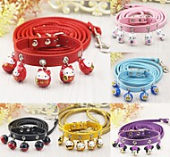 cheap -Cat Dog Collar Leash With Bell Cartoon PU Leather Yellow Fuchsia Red Pink