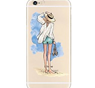 cheap -Case For Apple iPhone X iPhone 8 Ultra-thin Transparent Pattern Back Cover Sexy Lady Soft TPU for iPhone X iPhone 8 Plus iPhone 8 iPhone