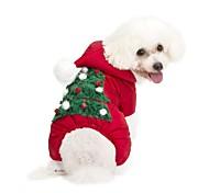 Собака Толстовки Комбинезоны Одежда для собак На каждый день Сохраняет тепло Рождество Новый год Цветочные / ботанический Красный Костюм