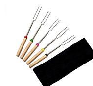 Недорогие -5 шт. / Комплект bbq forks кемпинг костер из нержавеющей стали деревянная ручка телескопическая барбекю обжиг вилка палочки шампуры bbq