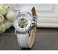 WINNER Women's Fashion Watch Dress Watch Wrist watch Automatic self-winding Hollow Engraving Leather Band Sparkle Vintage Casual Cool
