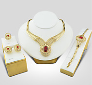 cheap -Women's Cubic Zirconia Jewelry Set - Cubic Zirconia, Gold Plated Vintage, Elegant Include Red For Wedding / Evening Party