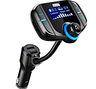 WAZA Wireless Hands-free Bluetooth 4.2 Car Kit FM Transmitter MP3 Player With Dual Quick Charge 3.0/2.4A USB ChargingSupport USB/TF
