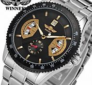 cheap -WINNER Men's Dress Watch Wrist watch Mechanical Watch Automatic self-winding Calendar / date / day Stainless Steel Band Casual Cool Silver