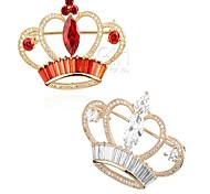 Women's Brooches Crystal Cubic Zirconia Classic Lovely Alloy Crown Jewelry For Prom Date