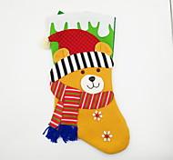 cheap -Large Non-Woven Fabric Christmas Stocking Christmas Ornament Bear