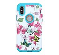 Недорогие -Кейс для Назначение Apple iPhone X iPhone X Защита от удара Чехол Бабочка Цветы Твердый ПК для iPhone X