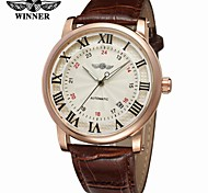 WINNER Men's Fashion Watch Dress Watch Wrist watch Automatic self-winding Calendar / date / day Leather Band Vintage Casual Cool Black