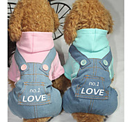 cheap -Dog Jumpsuit Dog Clothes Letter & Number Blue / Pink Cotton Costume For Pets Men's / Women's Casual / Daily
