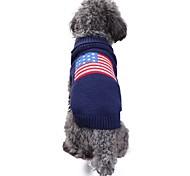 Недорогие -Кошка Собака Костюмы Плащи Свитера Одежда для собак На каждый день Сохраняет тепло Свадьба Хэллоуин Рождество Новый год Флаг Американский