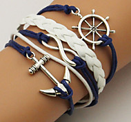cheap -Men's Women's Leather Anchor Wrap Bracelet - Simple Basic Anchor Dark Blue Bracelet For Casual Going out