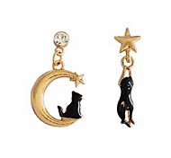 cheap -Women's Mismatch Star Drop Earrings - Animals Mismatch Lovely Moon Star For Daily