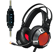 cheap -AJAZZ AX361 7.1 Headband Wired Headphones Dynamic Stainless Steel Plastic Gaming Earphone with Volume Control with Microphone Dual Drivers