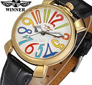 WINNER Herrn Damen Kleideruhr Armbanduhr Mechanische Uhr Automatikaufzug Leder Band Freizeit Mehrfarbig Schwarz
