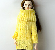 cheap -Tops Top For Barbie Doll Yellow Wool Fabric Top For Girl's Doll Toy