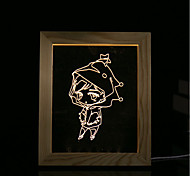 cheap -1 Set Of 3D Mood Night Light LED Lights USB Bedroom Photo Frame Lamp Gifts Little Girl