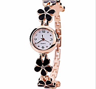 cheap -Women's Bracelet Watch Quartz Alloy Band Flower Black White