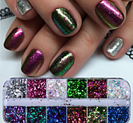 Недорогие -1 комплект Гель для ногтей Пайетки Блеск и сияние Гель для ногтей Порошок блеска Пайетки Советы для ногтей Дизайн ногтей