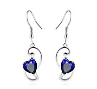 cheap -Women's Drop Earrings Synthetic Sapphire Simple Fashion Elegant Copper Glass Heart Jewelry Wedding Party