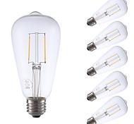 cheap -GMY® 6pcs 2W 220lm E26 LED Filament Bulbs ST21 2 LED Beads COB Dimmable Edison Bulb Decorative LED Light Warm White 110-130V