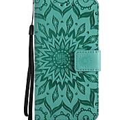 Недорогие -Кейс для Назначение Motorola C plus C Кошелек Бумажник для карт со стендом Рельефный Чехол Сплошной цвет Цветы Твердый Искусственная кожа