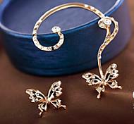 cheap -Women's Butterfly Imitation Diamond Stud Earrings / Ear Cuff - Metallic / Sweet Gold Earrings For Party / Daily