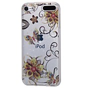 economico -Custodia per apple ipod touch5 / 6 cover case ad alta penetrazione in polvere e fiore dorato farfalla dorata custodia in tpu