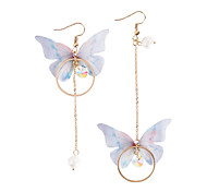cheap -Women's Drop Earrings Mismatch Fashion Lovely Imitation Pearl Fabric Alloy Butterfly Jewelry Party Costume Jewelry