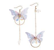 preiswerte -Damen Perle Nicht übereinstimmend / Lang Tropfen-Ohrringe - Künstliche Perle Schmetterling Modisch Gold Für Party