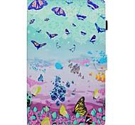 abordables -Funda Para Samsung Galaxy Tab S2 9.7 Tab A 10.1 (2016) Soporte de Coche con Soporte Flip Diseños Cuerpo Entero Mariposa Dura Cuero