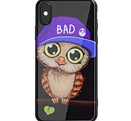 Недорогие -Кейс для Назначение Apple iPhone X iPhone 8 Plus Зеркальная поверхность С узором Задняя крышка Сова Твердый Акриловое волокно для iPhone