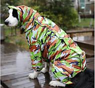 Собака Дождевик Одежда для собак Водонепроницаемый Реактивная печать Камуфляж цвета Костюм Для домашних животных