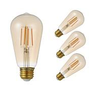 cheap -GMY® 4pcs 3.5W 300lm E26 LED Filament Bulbs ST21 4 LED Beads COB Dimmable Edison Bulb Decorative LED Light Warm White 110-130V