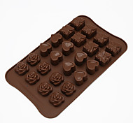 cheap -Bakeware Handmade DIY 24 Hole Rose Love Silicone Chocolate Mold Cake Decoration Tools