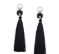 cheap -Women's Tassel / Geometric Drop Earrings - Pearl Tassel Green / Pink / Dark Red For Gift / Daily