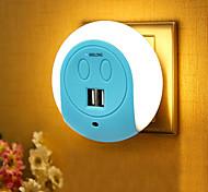 baratos -BRELONG® 1pç Wall Light Nightlight Smart Sensor Dual USB US Carregador de telefone De cabeceira Controle de luz
