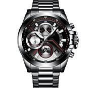 Недорогие -Муж. Модные часы Китайский Кварцевый Календарь Защита от влаги Хронометр Фосфоресцирующий Нержавеющая сталь Группа Cool Мода Черный Белый