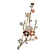 cheap -Women's Brooches Synthetic Diamond Formal Classic Fashion Imitation Diamond Alloy Flower Gold Jewelry For Daily Formal